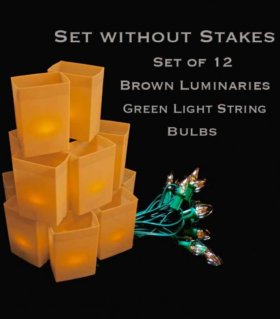 Set of 12 Brown Luminaries, Green Light String with Clear Bulbs, No Stakes