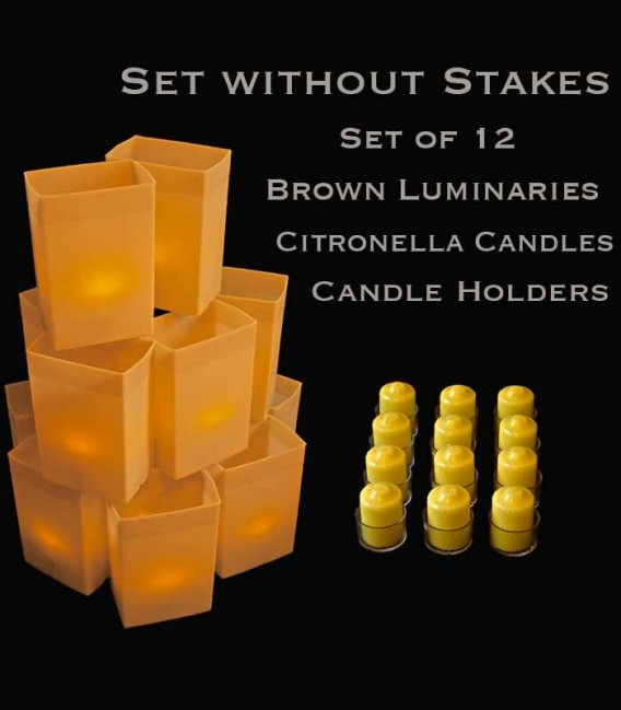 Set of 12 Brown Luminaries, Citronella Candles & Holders, No Stakes
