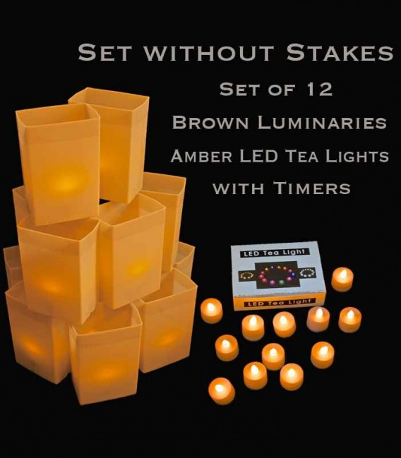 Set of 12 Brown Luminaries, Amber LED Tea Lights with Timers, No Stakes