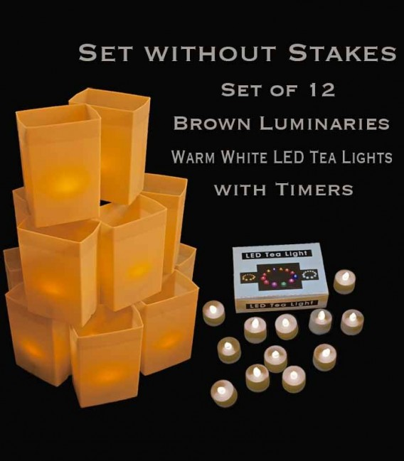 Set of 12 Brown Luminaries, Warm White LED Tea Lights with Timers, No Stakes