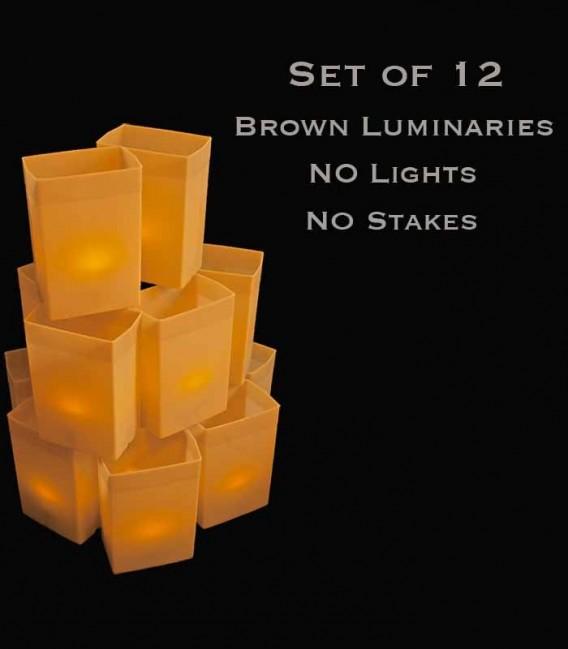 Set of 12 Brown Luminaries, No Light Source, No Stakes