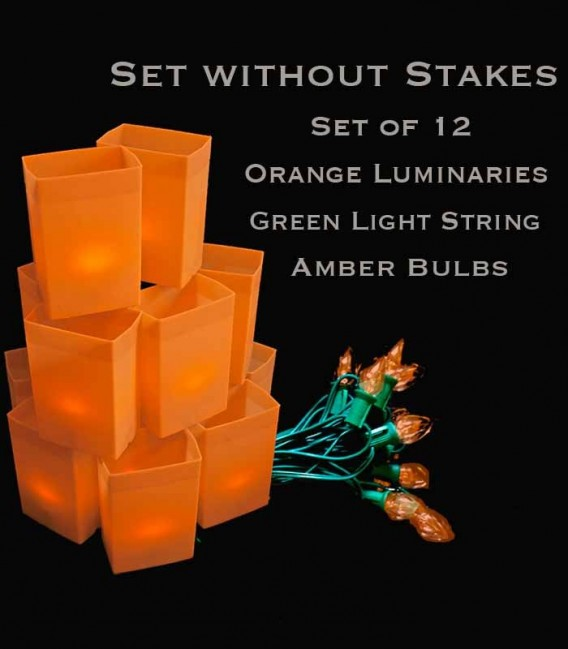 Set of 12 Orange Luminaries, Green Light String with Amber Bulbs, No Stakes