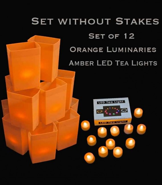 Set of 12 Orange Luminaries, Amber LED Tea Lights with Timers, No Stakes
