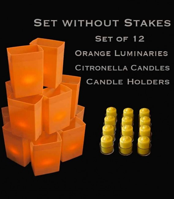Set of 12 Orange Luminaries, Citronella Candles & Holders, No Stakes