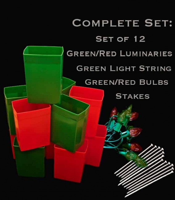 Set of 12 Red/Green Luminaries, Green Light String with Matching Red/Green Bulbs, Stakes