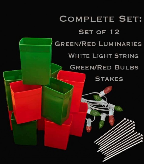 Set of 12 Red/Green Luminaries, White Light String with Matching Red/Green Bulbs, Stakes