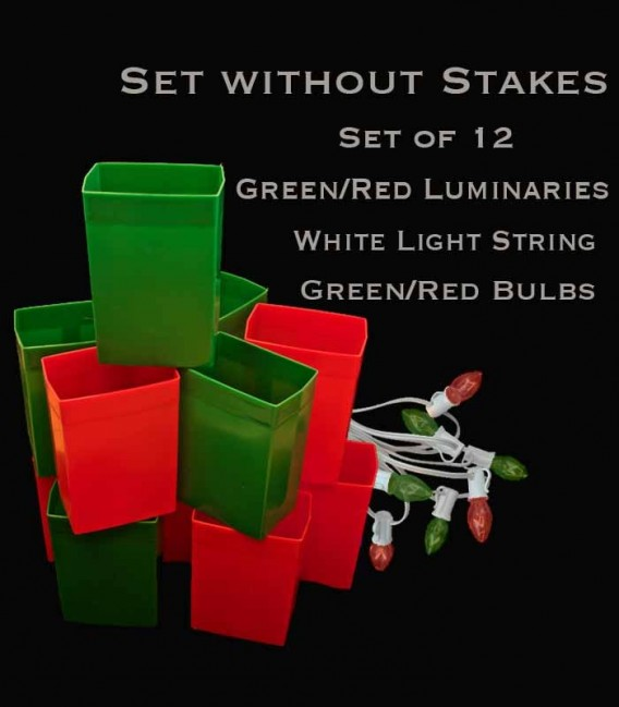 Set of 12 Red/Green Luminaries, White Light String with Matching Red/Green Bulbs, No Stakes