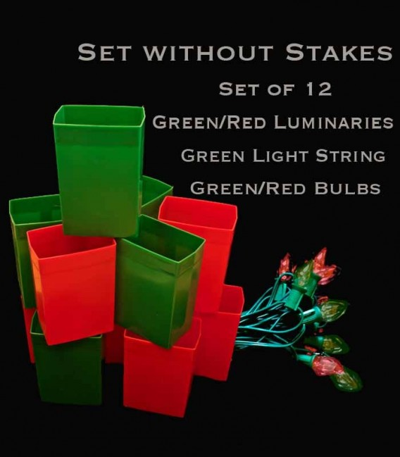 Set of 12 Red/Green Luminaries, Green Light String with Matching Red/Green Bulbs, No Stakes
