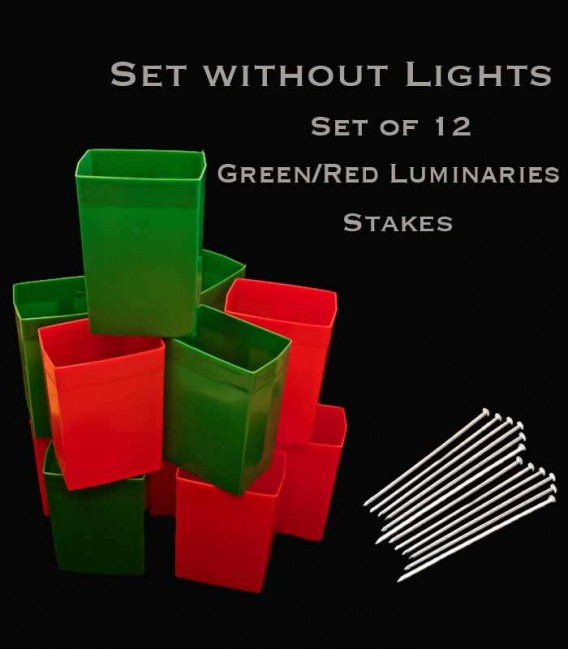 Set of 12 Red/Green Luminaries, No Light Source, Stakes