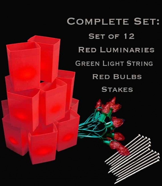 Set of 12 Red Luminaries, Green Light String with Red Bulbs, Stakes