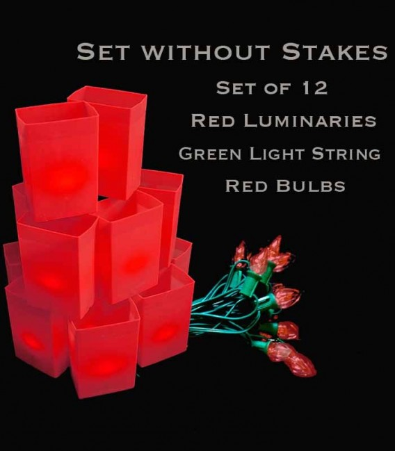 Set of 12 Red Luminaries, Green Light String with Red Bulbs, No Stakes
