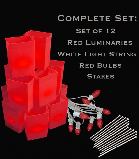 Set of 12 Red Luminaries, White Light String with Red Bulbs, Stakes
