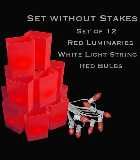 Set of 12 Red Luminaries, White Light String with Red Bulbs, No Stakes