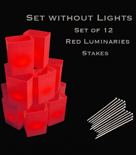 Set of 12 Red Luminaries, No Light Source, Stakes