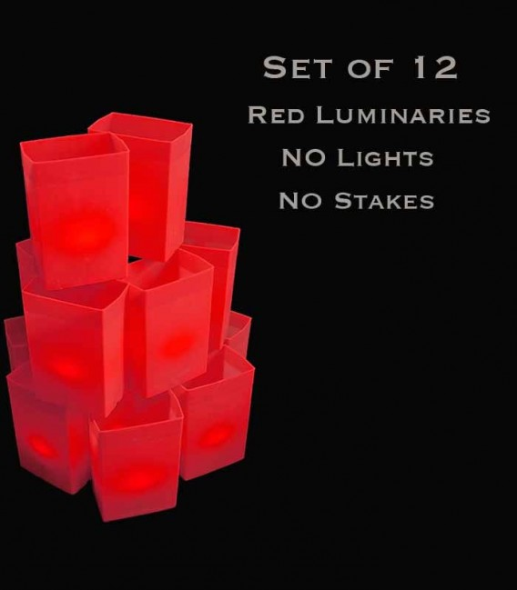 Set of 12 Red Luminaries, No Light Source, No Stakes