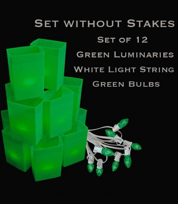 Set of 12 Green Luminaries, White Light String with Green Bulbs, No Stakes