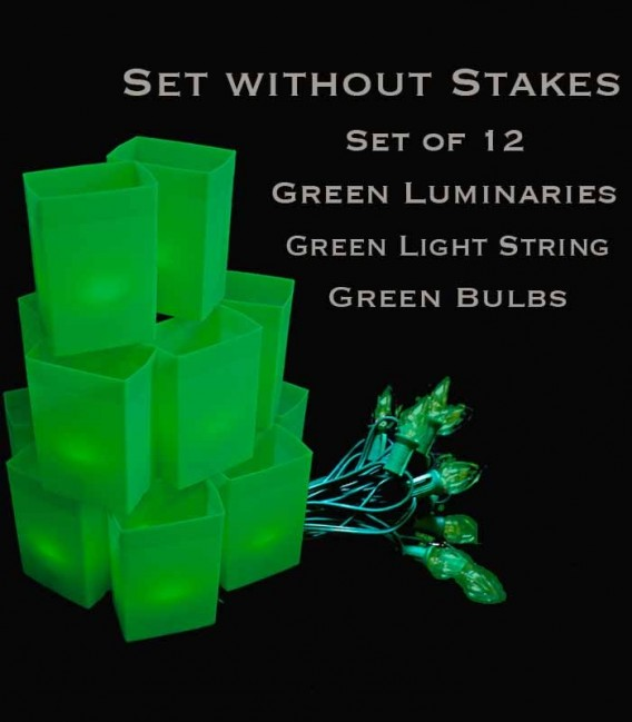 Set of 12 Green Luminaries, Green Light String with Green Bulbs, No Stakes