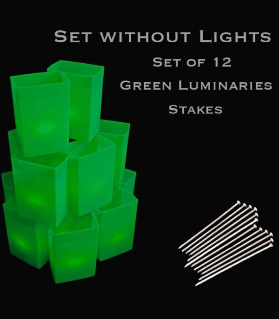 Set of 12 Green Luminaries, No Light Source, Stakes
