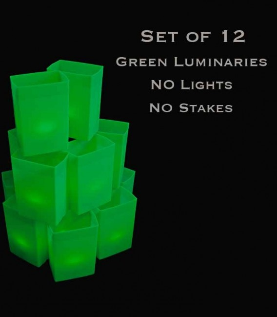 Set of 12 Green Luminaries, No Light Source, No Stakes