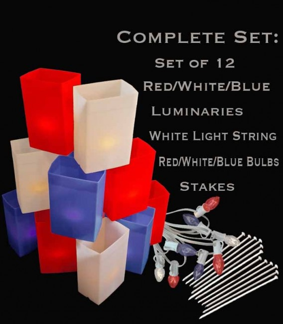 Set of 12 Patriotic Luminaries, White Light String with Red/White/Blue Bulbs, Stakes