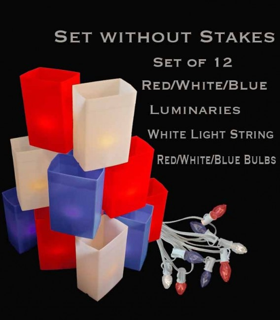 Set of 12 Patriotic Luminaries, White Light String with Red/White/Blue Bulbs, No Stakes