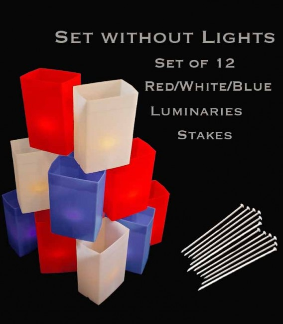 Set of 12 Patriotic Luminaries, No Light Source, Stakes