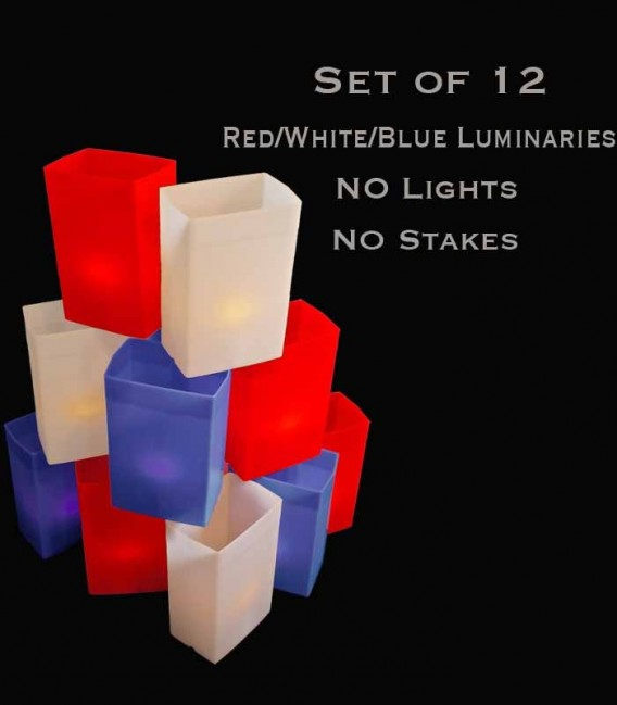 Set of 12 Patriotic Luminaries, No Light Source, No Stakes