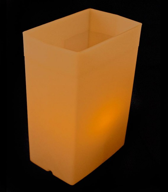 Brown Luminary with amber LED Tea Light inside
