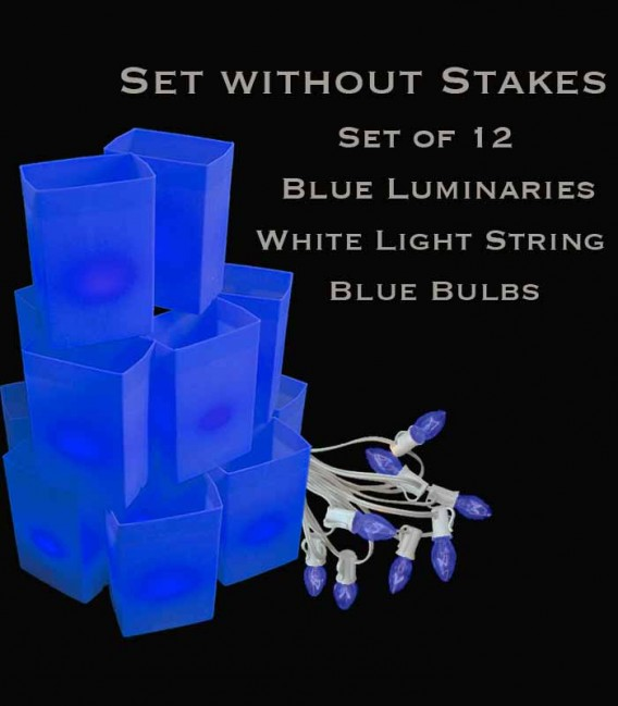 Set of 12 Blue Luminaries, White Light String with Blue Bulbs, No Stakes