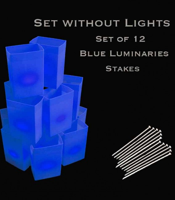 Set of 12 Blue Luminaries, No Light Source, Stakes