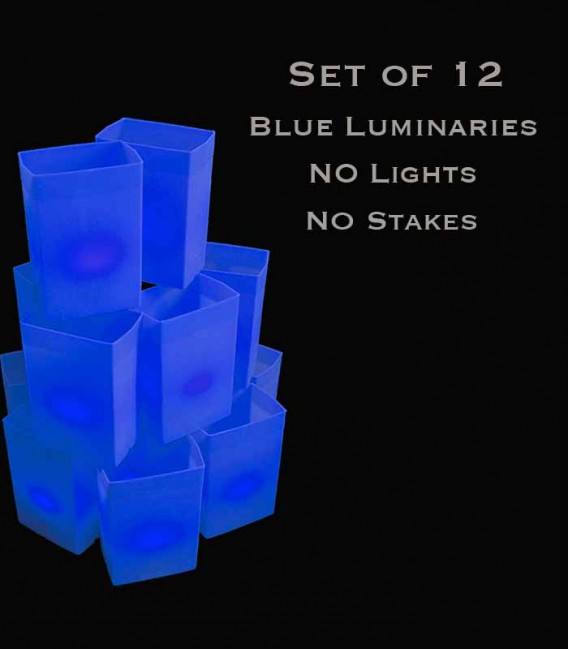 Set of 12 Blue Luminaries, No Light Source, No Stakes