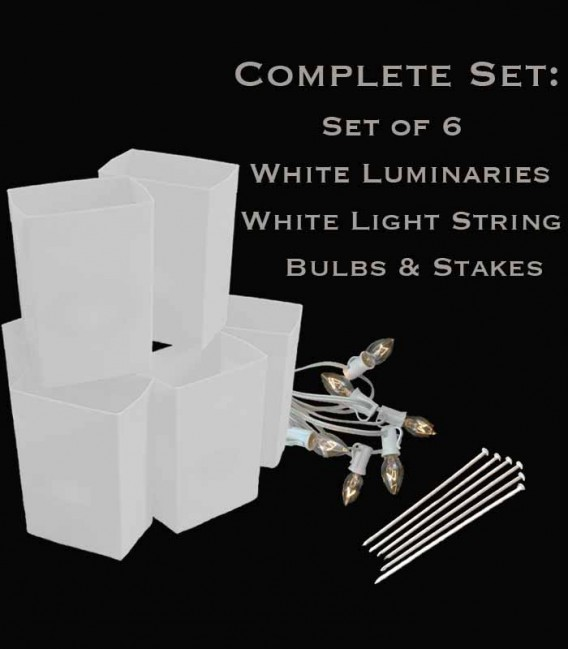 Set of 6 White Luminaries, White Light String with Clear Bulbs, Stakes