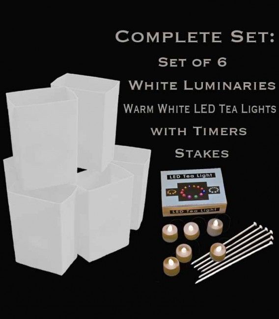 Set of 6 White Luminaries, Warm White LED Tea Lights with Timers, Stakes