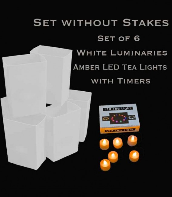 Set of 6 White Luminaries, Amber LED Tea Lights with Timers, No Stakes