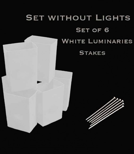 Set of 6 White Luminaries, No Light Source, Stakes