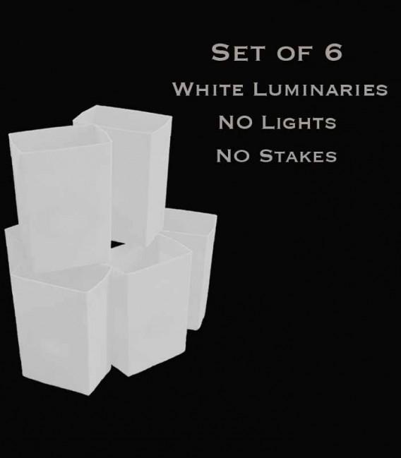 Set of 6 White Luminaries, No Light Source, No Stakes