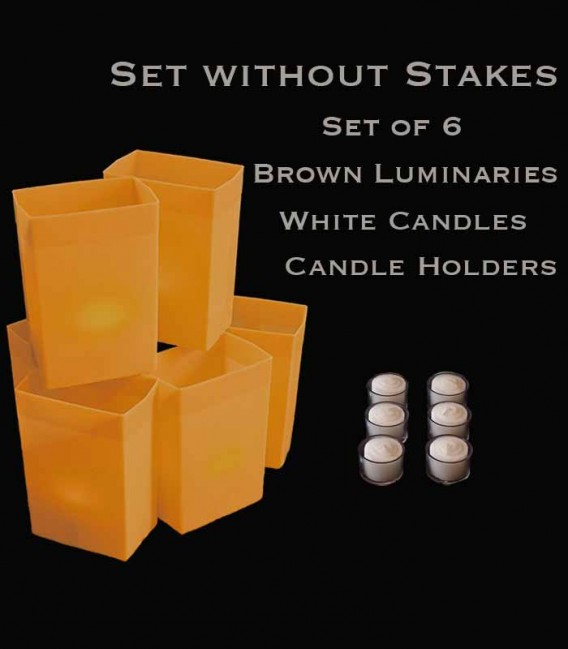 Set of 6 Brown Luminaries, White Candles & Holders, No Stakes