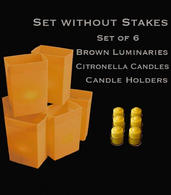 Set of 6 Brown Luminaries, Citronella Candles & Holders, No Stakes