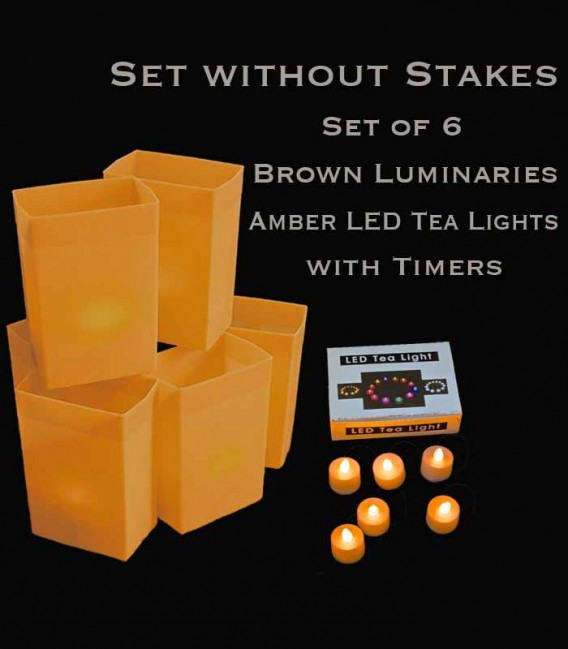 Set of 6 Brown Luminaries, Amber LED Tea Lights with Timers, No Stakes