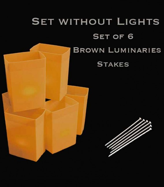 Set of 6 Brown Luminaries, No Light Source,, Stakes