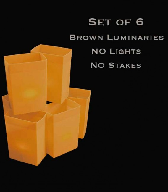 Set of 6 Brown Luminaries, No Light Source, No Stakes