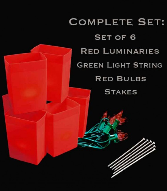 Set of 6 Red Luminaries, Green Light String with Red Bulbs, Stakes