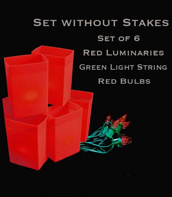 Set of 6 Red Luminaries, Green Light String with Red Bulbs, No Stakes