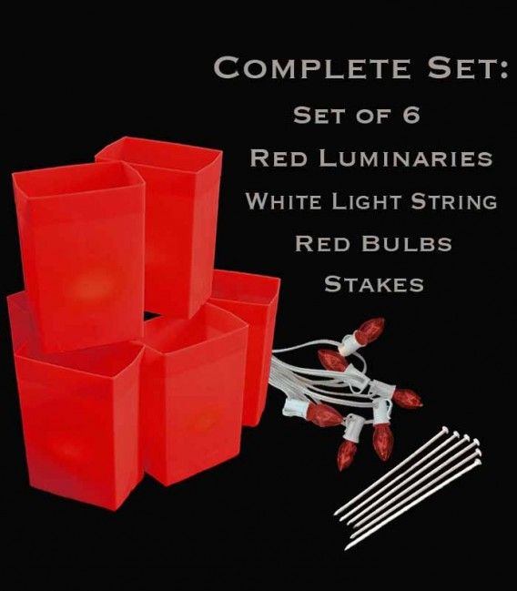 Set of 6 Red Luminaries, White Light String with Red Bulbs, Stakes