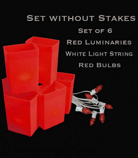 Set of 6 Red Luminaries, White Light String with Red Bulbs, No Stakes