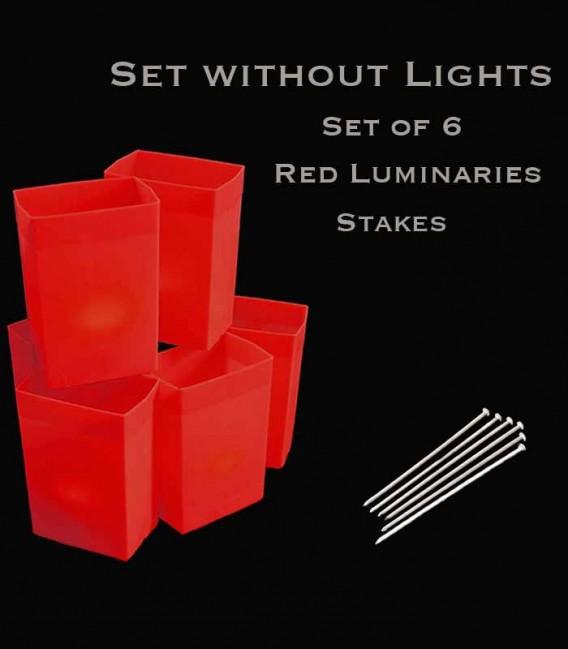 Set of 6 Red Luminaries, No Light Sources, Stakes