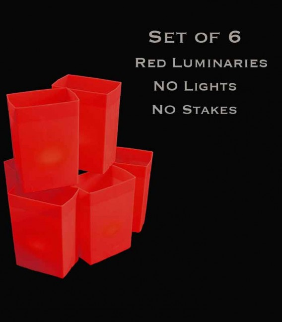 Set of 6 Red Luminaries, No Light Sources, No Stakes
