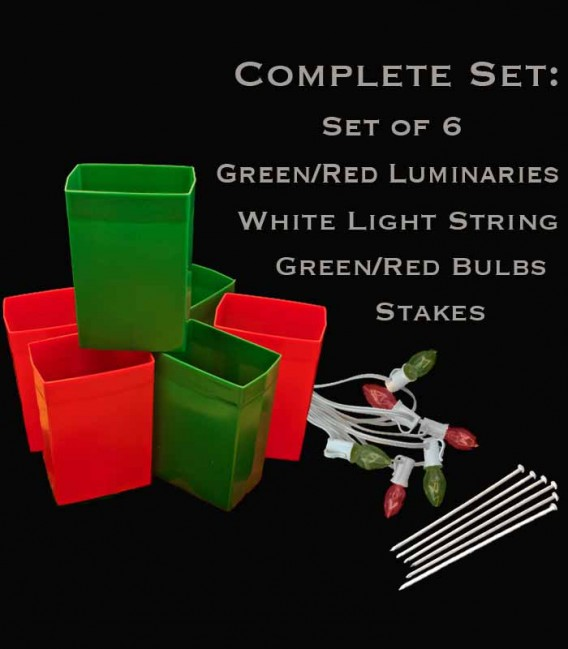 Set of 6 Red/Green Luminaries, White Light String with Red/Green Bulbs, Stakes