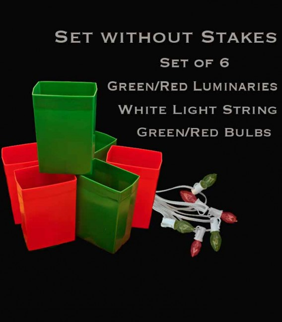 Set of 6 Red/Green Luminaries, White Light String with Red/Green Bulbs, No Stakes