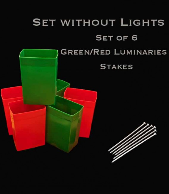 Set of 6 Red/Green Luminaries, No Light Source, Stakes